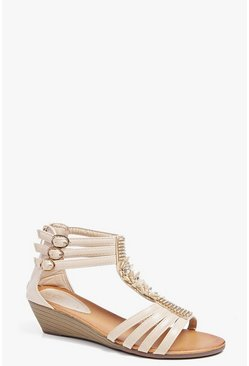 Lola Embellished T Bar Demi Wedge