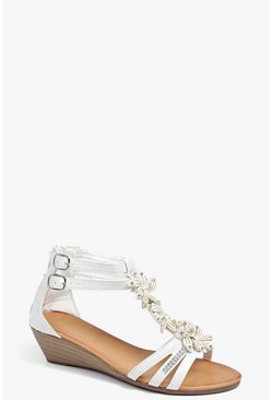 Layla Flower Trim Demi Wedge