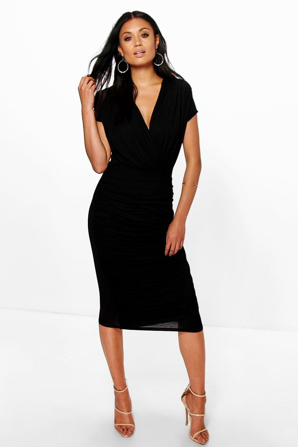 Wrap Front Gathered Midi Dress black