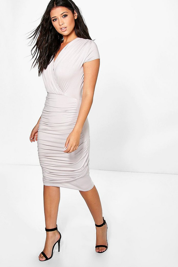 Jenny Wrap Front Gathered Midi Dress