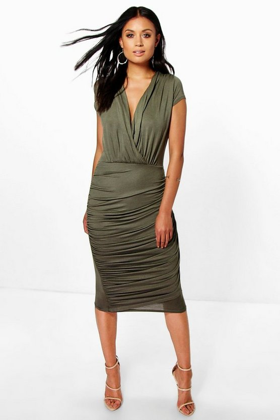 Wrap Front Gathered Midi Dress