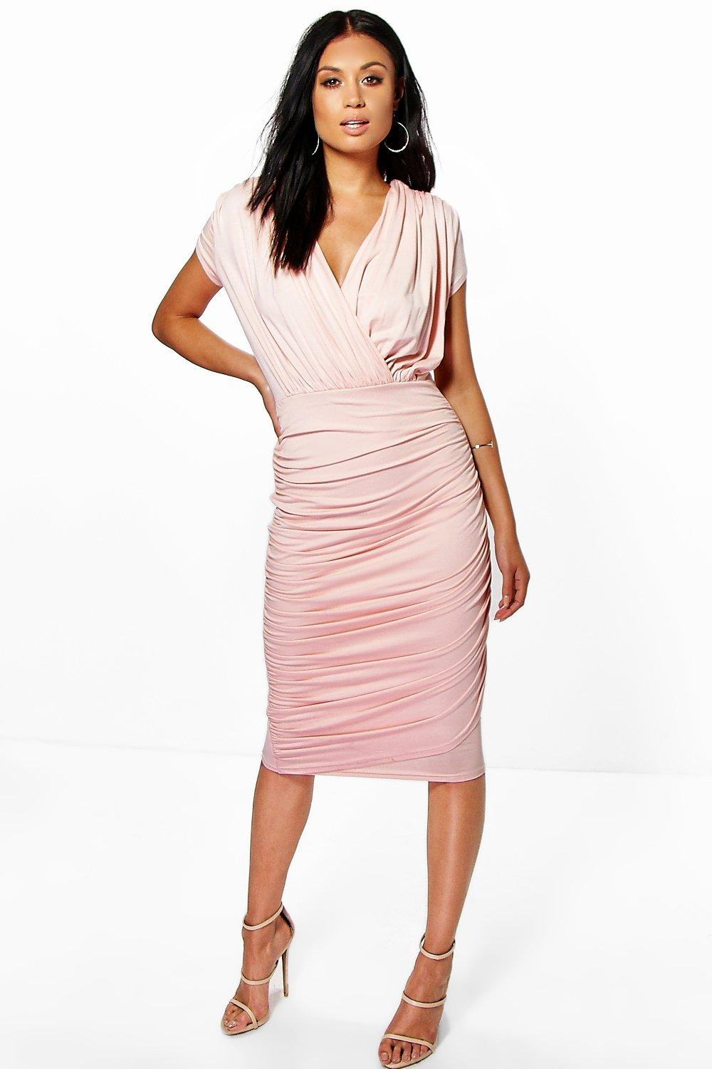 Wrap Front Gathered Midi Dress nude