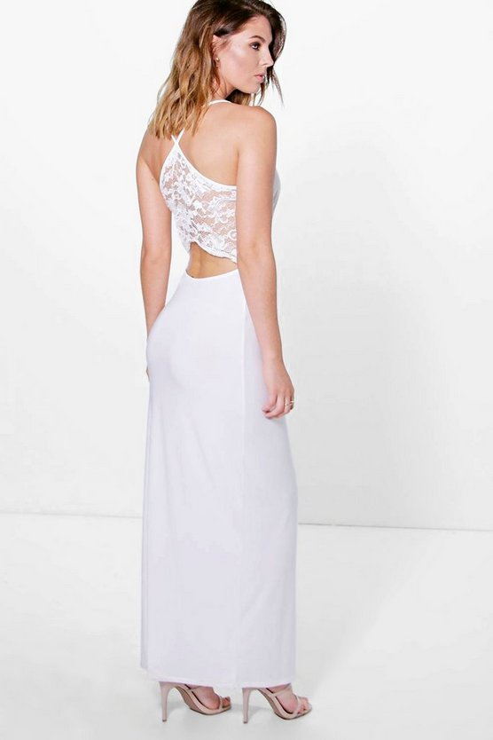 Honor Lace Back Plunge Neck Maxi Dress