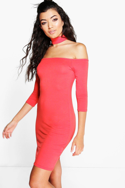 Choker Off Shoulder Mini Dress orange
