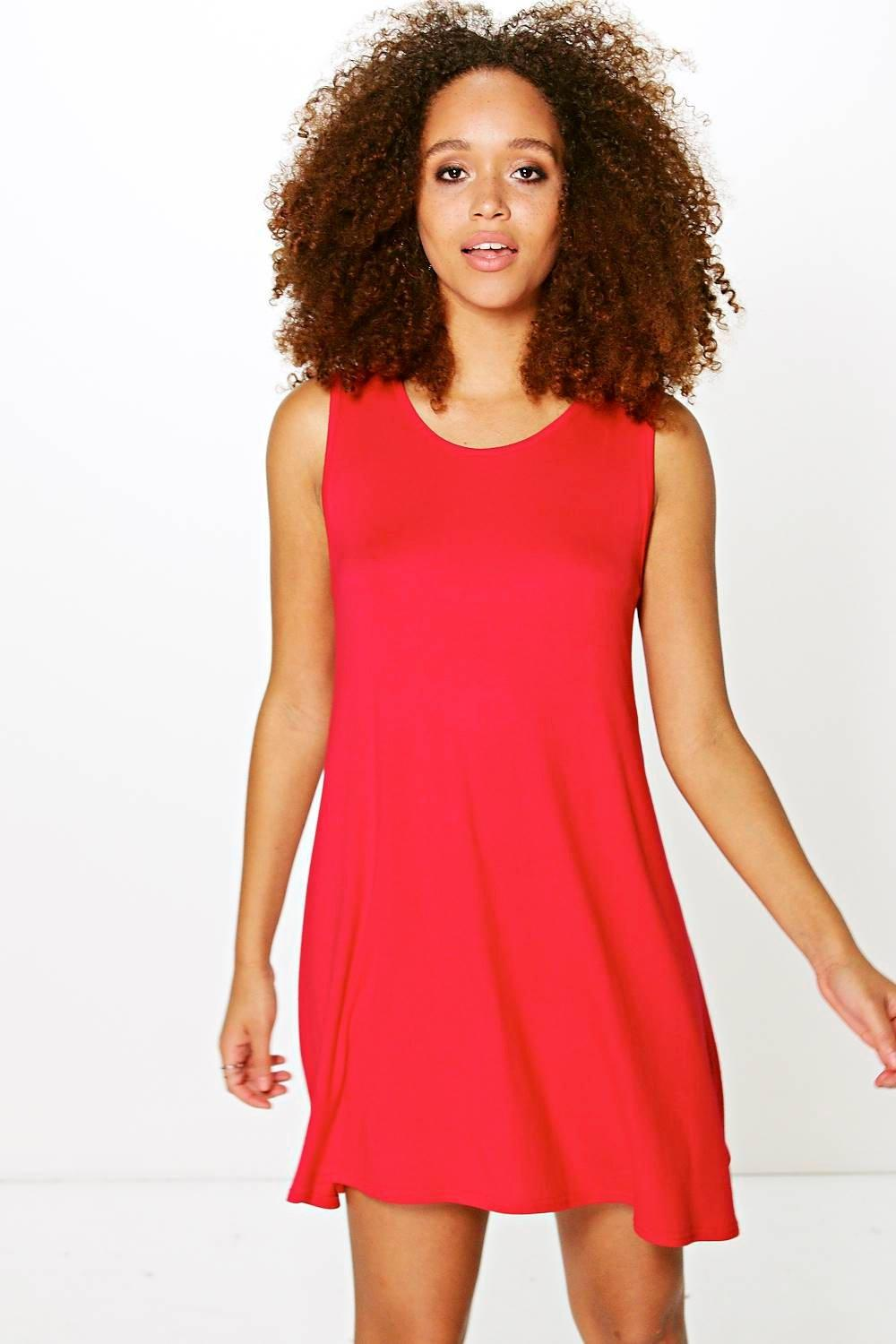 Ellie Basic Scoop Neck Sleeveless Swing Dress