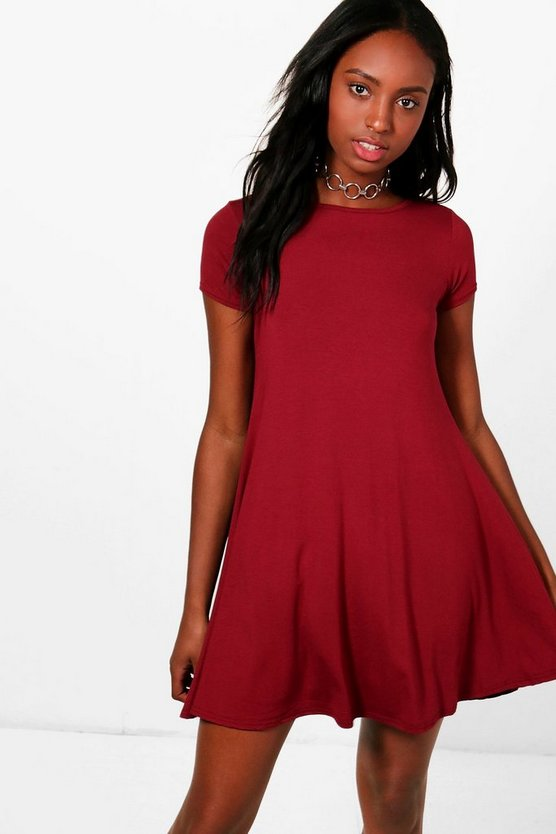 Rina Jersey Cap Sleeve Swing Dress