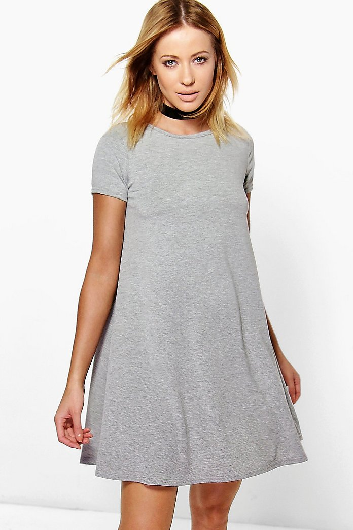 Flo Basic Scoop Neck Cap Sleeve Swing Dress