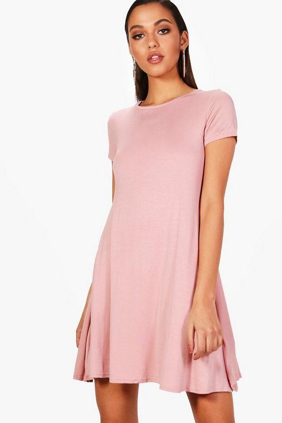 Jersey Cap Sleeve Swing Dress