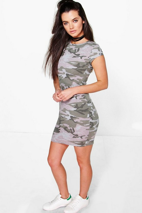 Mia Camo Printed High Neck Dress