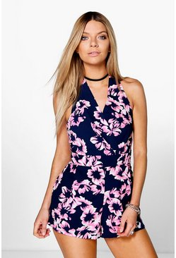 Nia Woven Wrap Front Print Playsuit