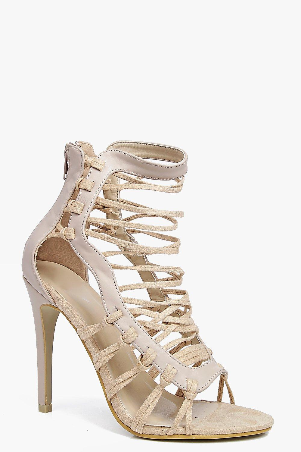 Multi Strap Caged Stilletto cream