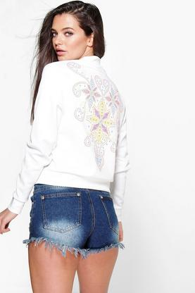 Alice Printed Embroidery Bomber