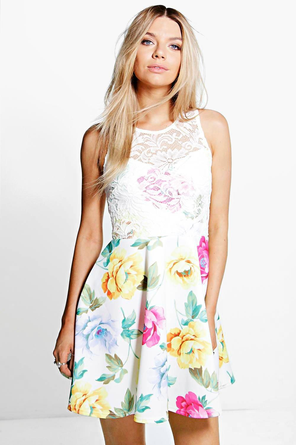 Suzannah Floral Lace Overlay Skater Dress
