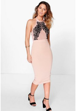 Ruth Flocked Bodycon Midi Dress