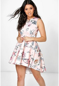 Elodie Floral Dip Hem Skater Dress