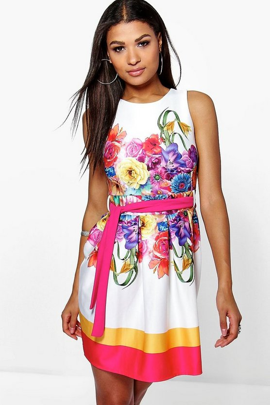 Madeleine Floral Print Belted Skater Dress