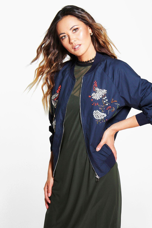 Product photo of Maria embellished bomber jacket navy