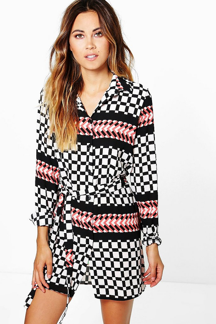 Jennie Grid Geo Print Shirt Dress