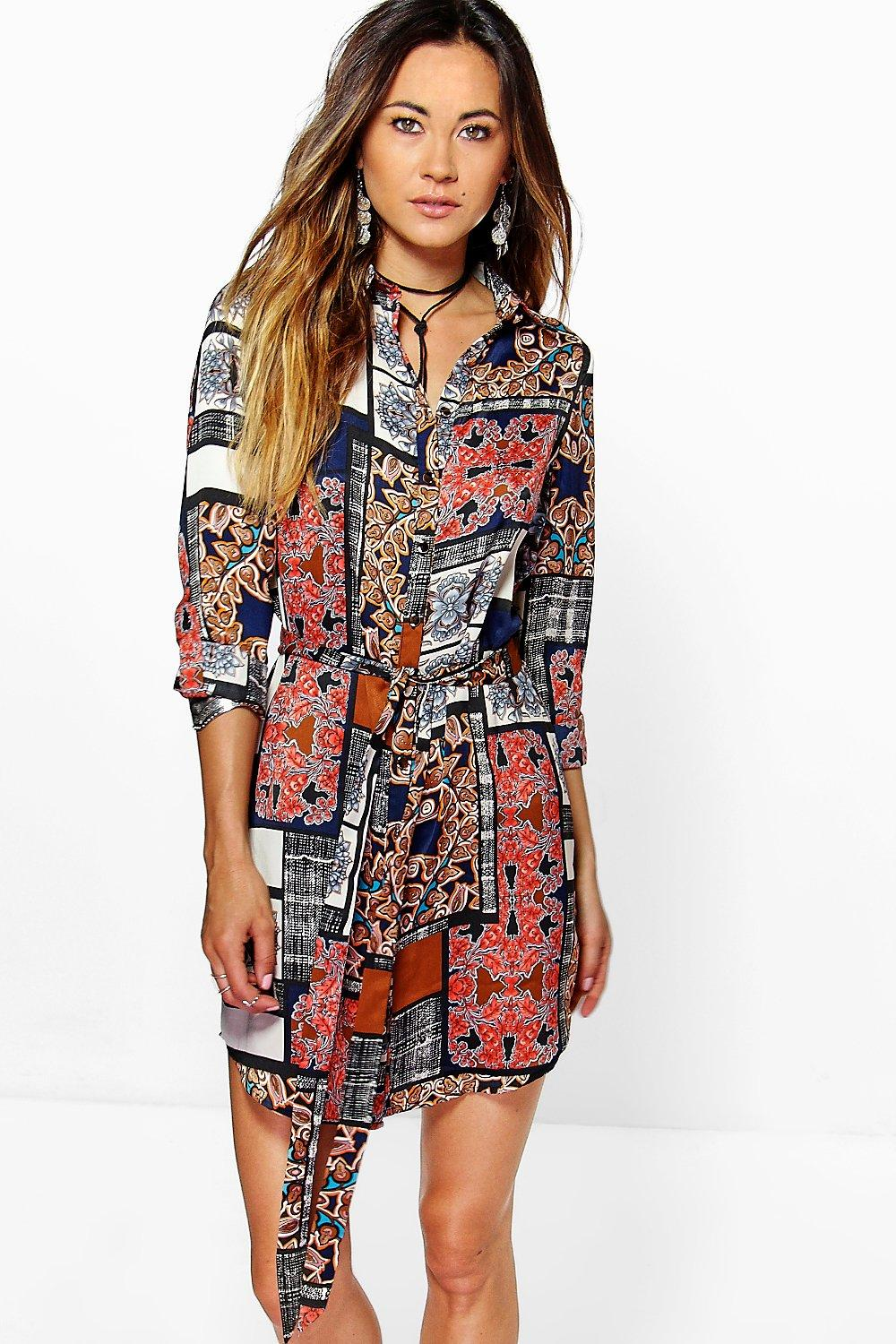 Zahiah Patchwork Print Shirt Dress