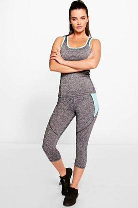 Erin Top And Capri Running Legging Gym Set