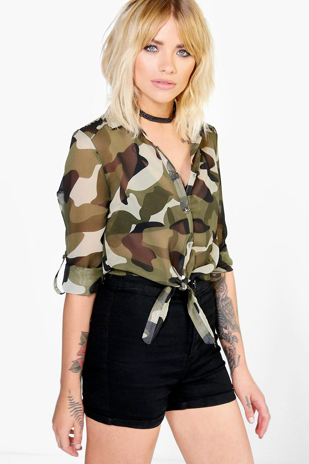 Cropped Tie Front Camo Woven Shirt green