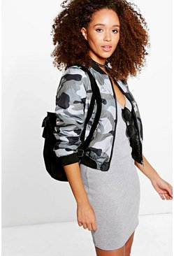 Ellie Grey Camo Bomber