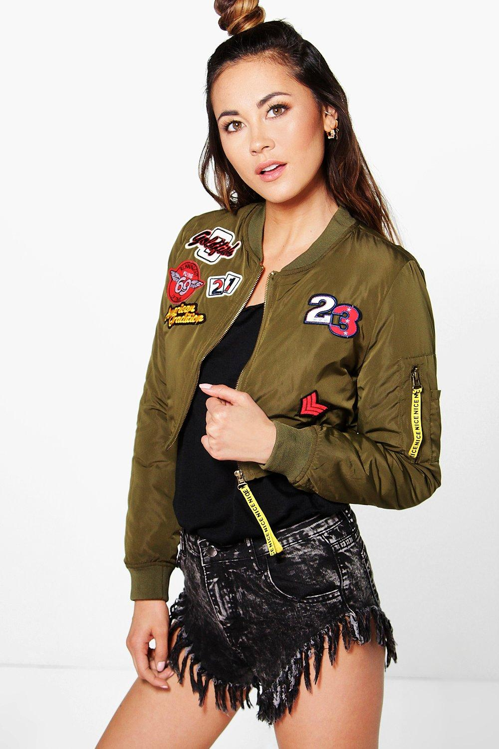 Boutique Millie Crop Badge Bomber