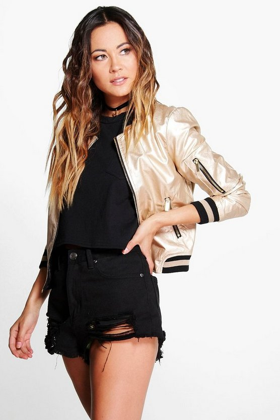 Erin Metallic Leather Look Bomber