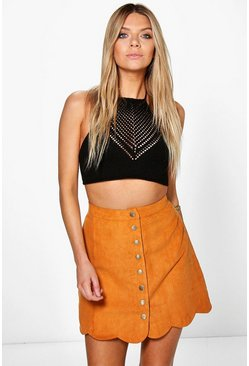 Adali Button Front Suedette Scalloped Skirt