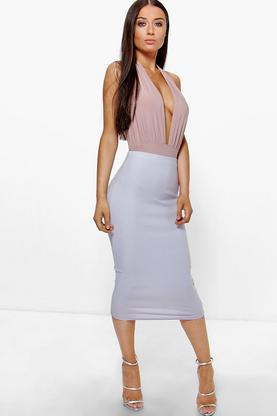 Adalie Soft Crepe Longer Line Midi Skirt