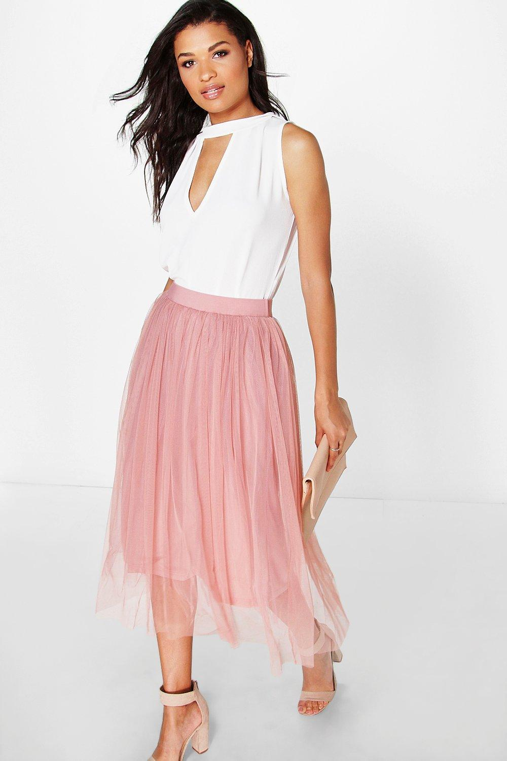Boutique Aya Tulle Full Midi Skirt