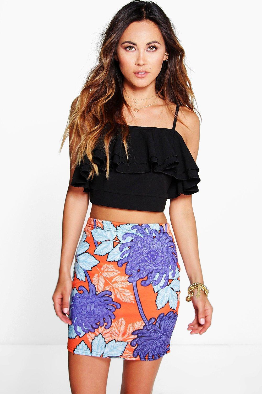 Bright Large Floral Mini Skirt multi