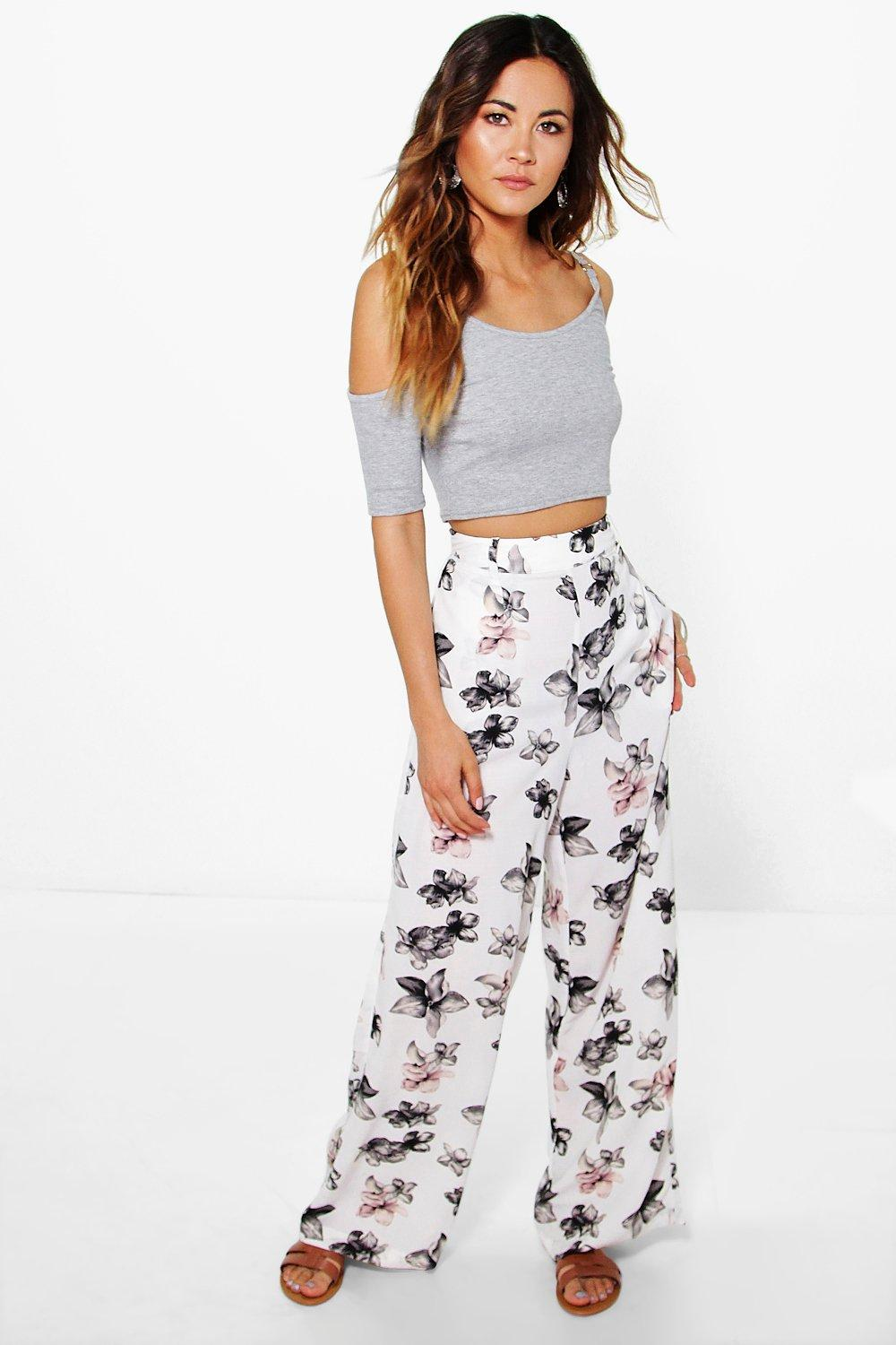 Adora Woven Floral Wide Leg Trousers