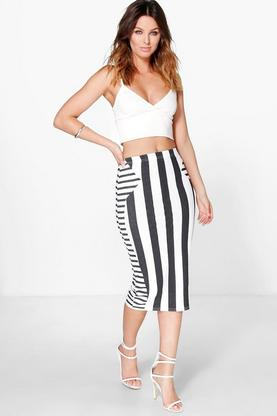 Ama Striped Bodycon Midi Skirt