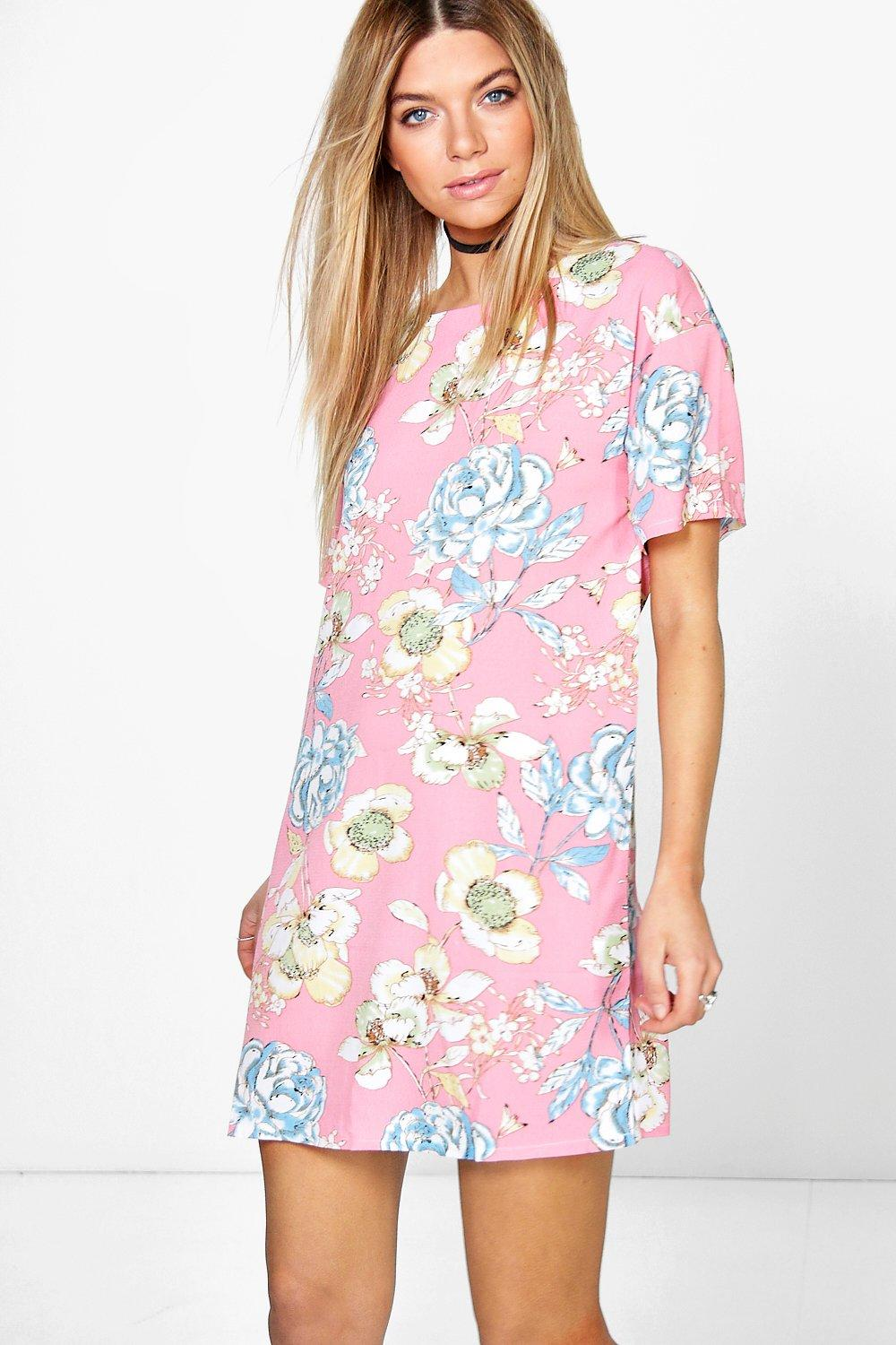 Khloe Floral Cap Sleeve Shift Dress