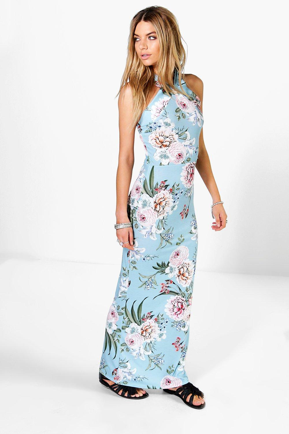 Floral Printed High Neck Maxi Dress blue