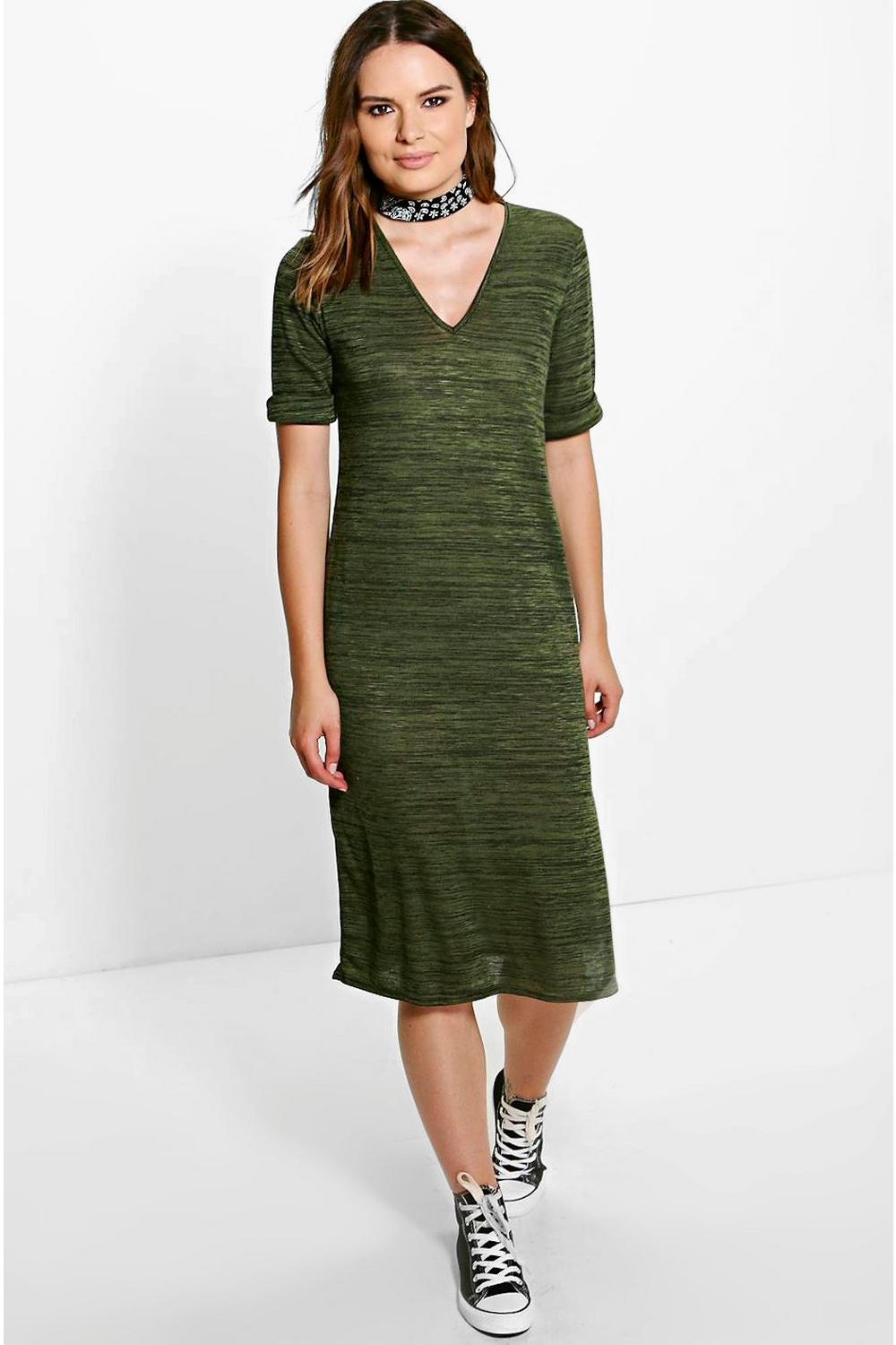 Jules V Neck Basic Split Front Midi Dress