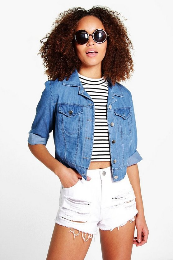 Paige Crop Lightweight Denim Jacket