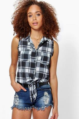 Molly Check Tie Waist Shirt