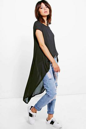 Anna Chiffon Dip Back Top