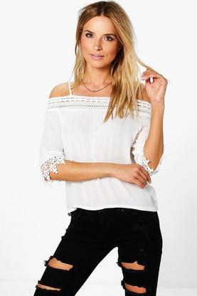 Sarah Cold Shoulder Crochet Trim Top