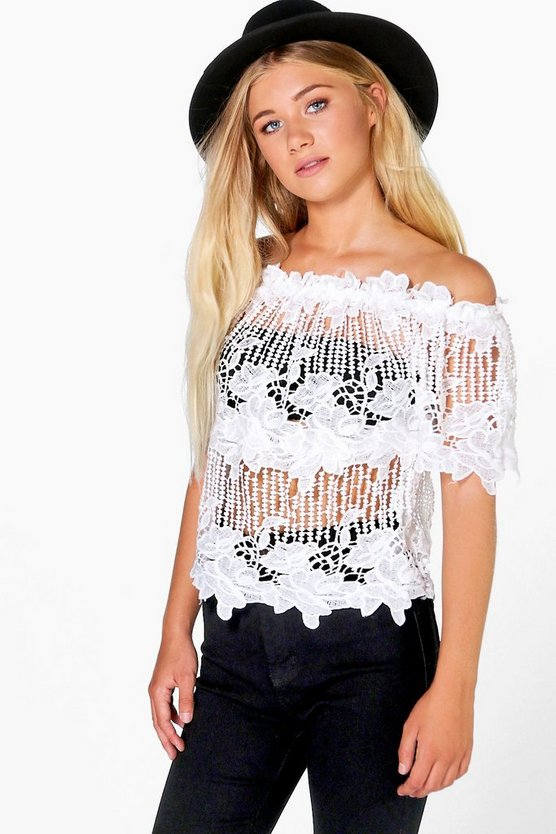 Becca Crochet Off The Shoulder Top