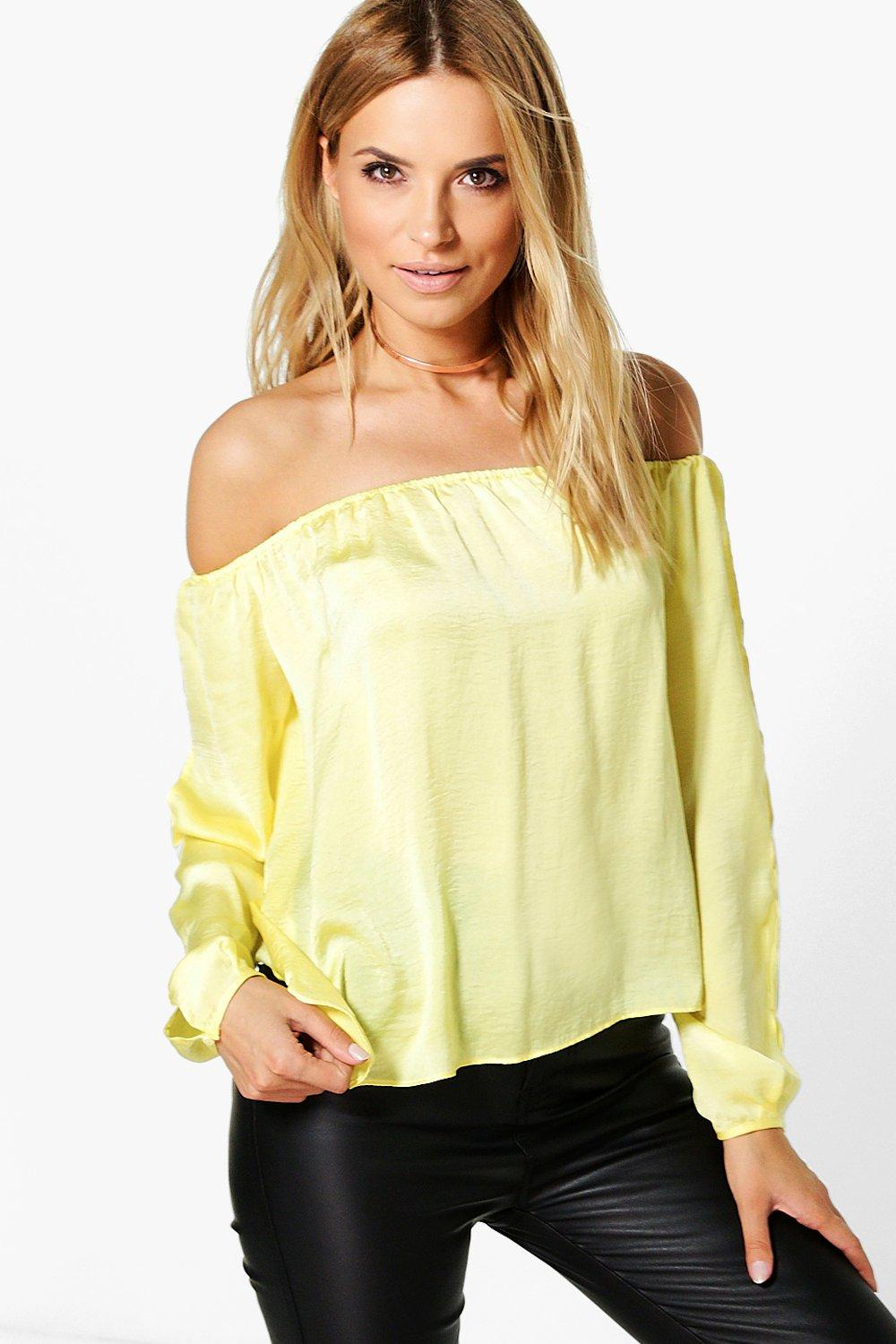Jenna Silky Split Sleeve Bardot Top