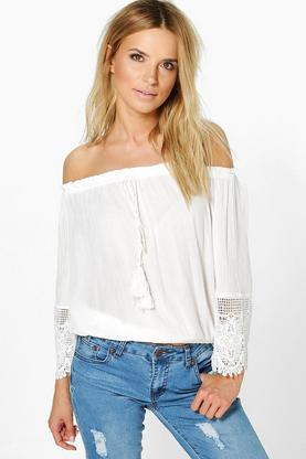 Katie Off The Shoulder Crochet Trim Top