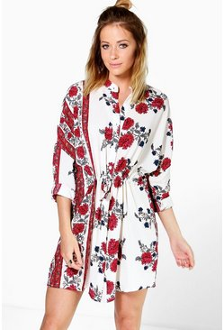 Lara Floral Paisley Border Print Shirt Dress