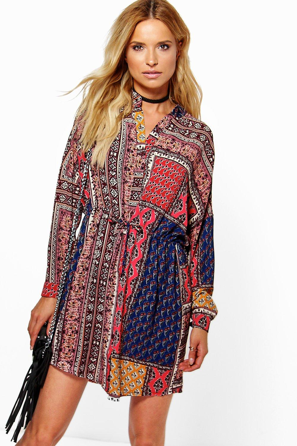 Kerry Scarf Paisley Print Shirt Dress