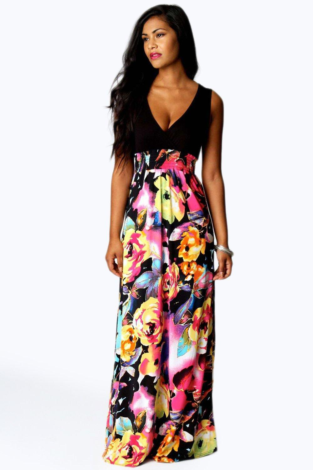 Kiera Rose Print Maxi Dress | Boohoo