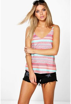 Penny Printed Woven Caged Cami