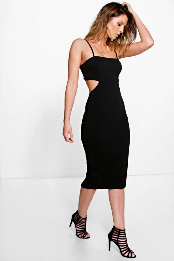 Danielle Cut Out Side Square Neck Midi Dress