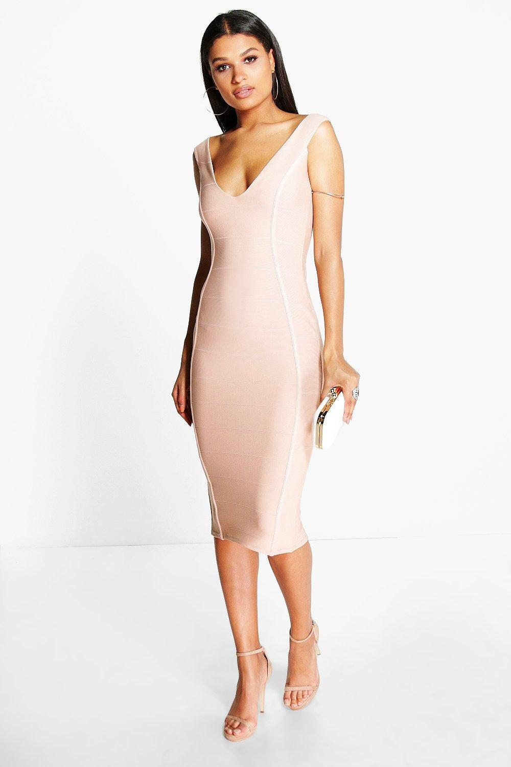 Hayley Bandage Sweetheart Off The Shoulder Midi Dress
